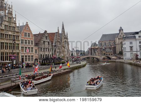 Ghent Belgium - June 26 2011: Sightseeing boat on Ghent canal