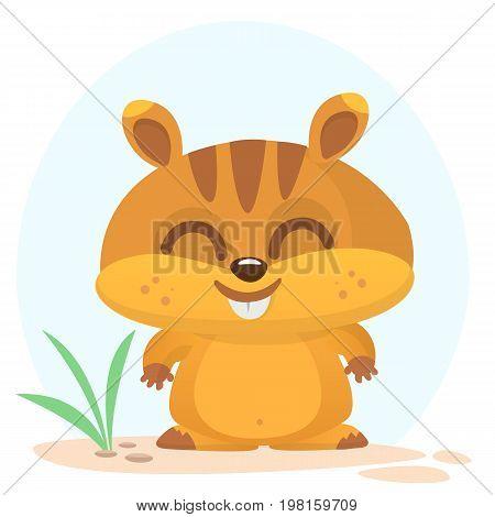 Cartoon marmot mascot. Vector illustration of groundhog or chipmunk isolated