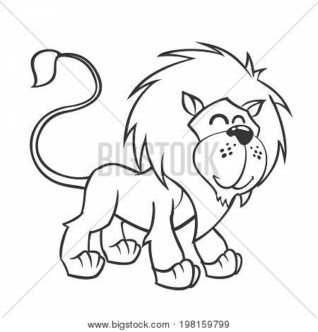 Cute lion. Vector illustration of cute cartoon lion character for children coloring and scrap book. Outlined lion mascot