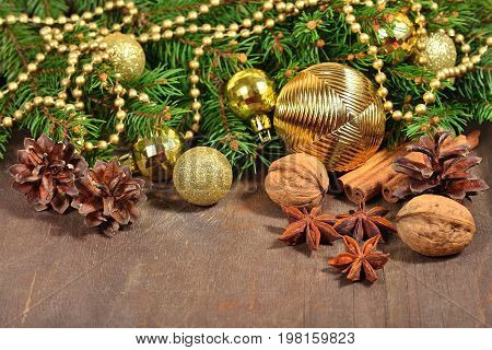 Different Kinds Of Spices, Nuts And Cones, Christmas Decorations