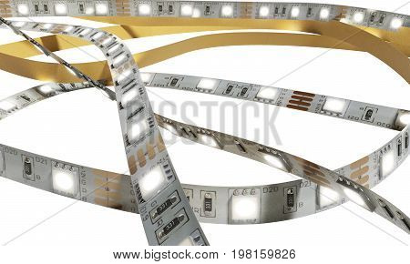 Diode Strip Led Lights Tape Close-up 3D Render On White No Shadow