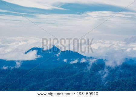 blue sky with cloud and mountian view