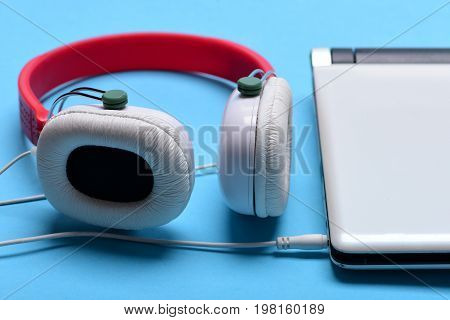 Sound Recording And Music Concept. Electronics On Light Blue Background.
