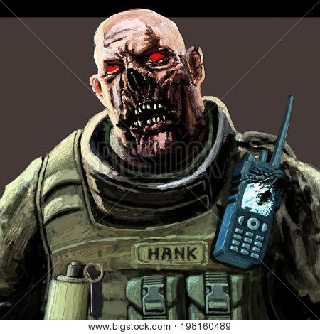 Fat zombie soldier illustration. Scary horror character face. The horror genre.