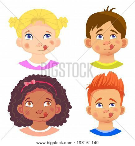 Set of girls and boy character. Children emotions. Facial expression. Set of emoticons. Yum