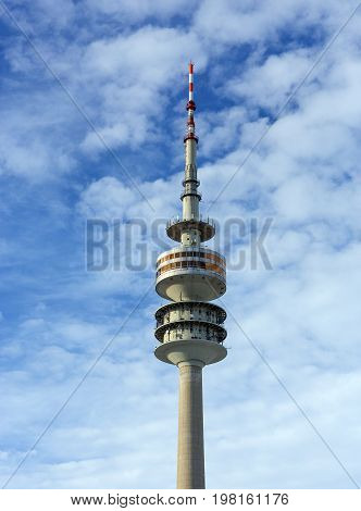 MUNICH, GERMANY - JANUARY 2: The Olympic Tower (Olympiaturm) on January 2, 2015. It was built for the 1972 Summer Olympics. It has an overall height of 291m and a weight of 52,500 tons.