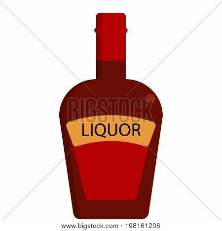 Liquor bottle alcoholic beverage flat icon, vector sign, colorful pictogram isolated on white. Symbol, logo illustration. Flat style design