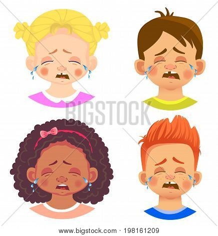 Set of girls and boy character. Children emotions. Facial expression. Set of emoticons. Cry