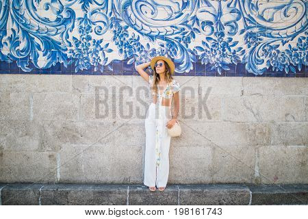 Back View Of A Young Female Wanderer Out Sightseeing In A Foreign City During Weekend Overseas, Tren