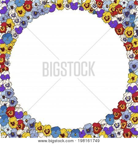 Floral frame of colorfull pansies flowers. Vector