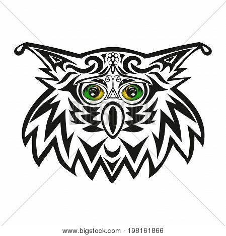 The vector head of an owl, a night bird of prey, an animal with green eyes, an illustration of an eagle owl