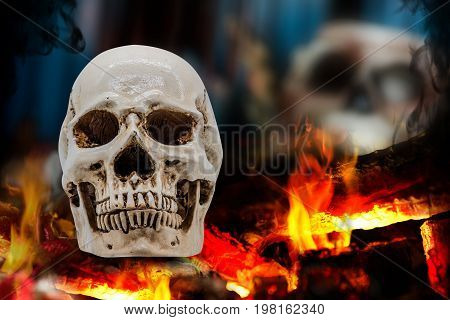 Skull with fire and Halloween party decoration