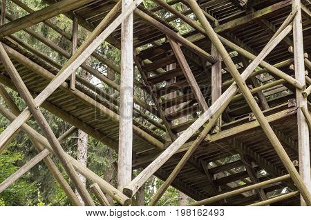 Old Wooden Staircase of the 19th Century Skokan Bridge in Oybin Germany. 19th Century wooden jumping bridge in Oybin Germany