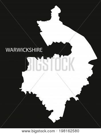 Warwickshire England Uk Map Black Inverted Silhouette Illustration