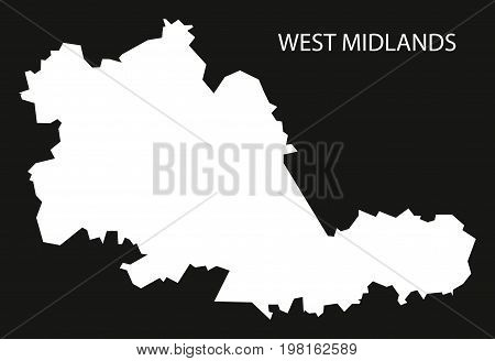 West Midlands County England Uk Map Black Inverted Silhouette Illustration