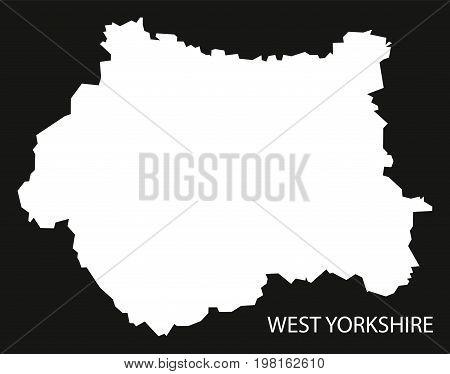 West Yorkshire England Uk Map Black Inverted Silhouette Illustration