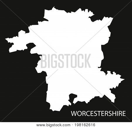 Worcestershire England Uk Map Black Inverted Silhouette Illustration