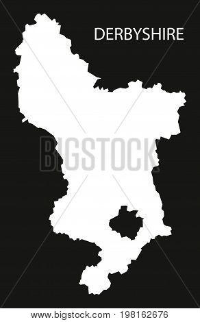 Derbyshire England Uk Map Black Inverted Silhouette Illustration