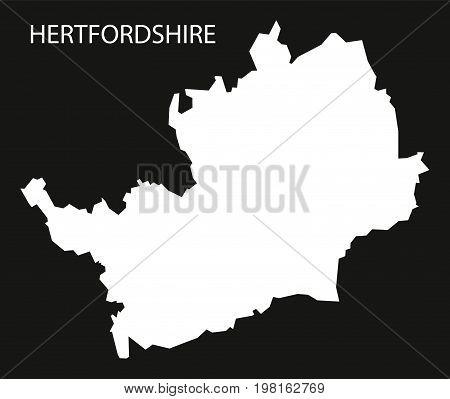 Hertfordshire England Uk Map Black Inverted Silhouette Illustration