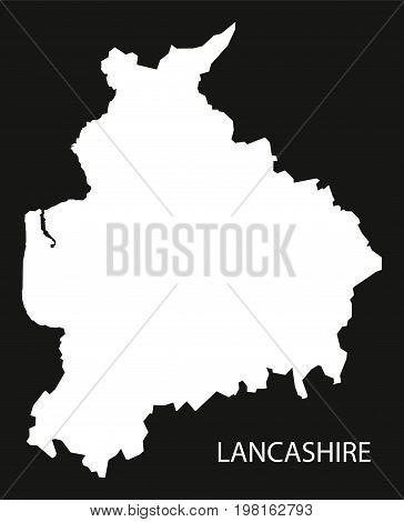 Lancashire England Uk Map Black Inverted Silhouette Illustration