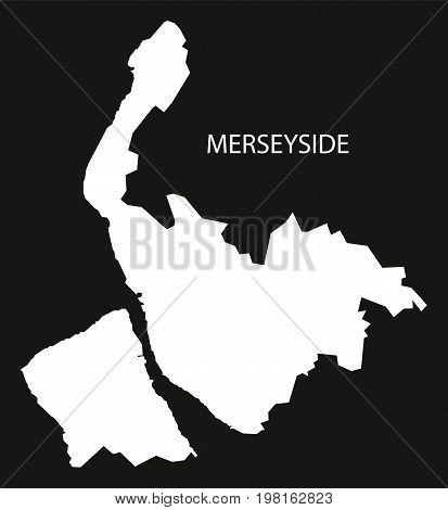 Merseyside England Uk Map Black Inverted Silhouette Illustration