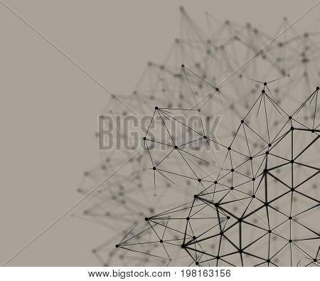 3D illustration - Black abstract nodal structure on brown background.