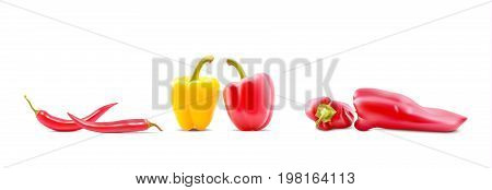 Different Sorts Of Hot Peppers In All Colors, Shapes And Sizes. Chilly Peper Icons. Vector Illustrat