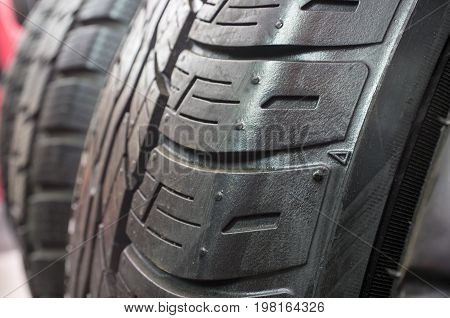 Detail of retread tyres. Re-manufacturing process for tires that replace the tread on worn tires