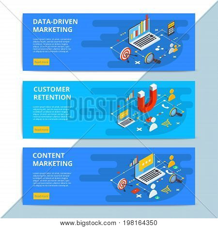 Content Marketing Isometric Vector Web Banners. Business Sale Strategy And Social Media Customer Res