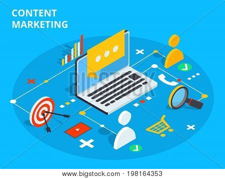 Content Marketing Isometric Vector Concept Illustration. Business Sell Strategy And Social Media Cus