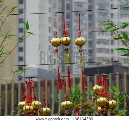 Golden Lucky Lanterns At Temple In Hong Kong