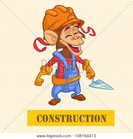 Cartoon engineer monkey with a trowel. Vector illustration with under construction title