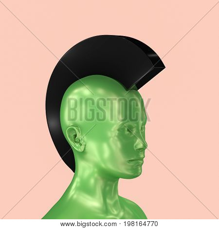 smooth silky green 3d head with black stylized punk Iroquois on pale pink background.