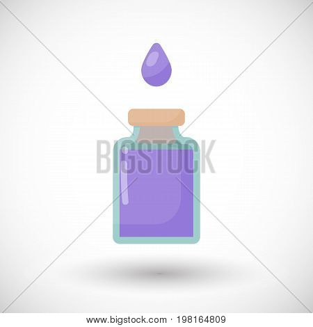 Poison bottle vector flat icon Flat design of toxic dangerous or medicine with round shadow isolated on the white background cute vector illustration with reflections