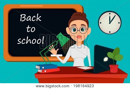 Back to school. Teacher sitting at her desk while lesson in classroom. Cheerful female instructor in glasses - stock vector