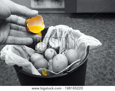 Human hand throwing bad egg into a rubbish bin selective color closeup