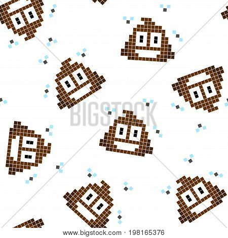 Pattern of shit. Seamless background with a turd. Ornament. A background of shit. Texture of WC. Vector. Vector illustration.