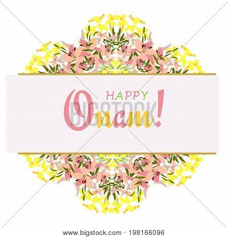 Holiday greetings illustration of Onam background showing culture of Kerala. Vector illustration for you. Modern fashion trend design.