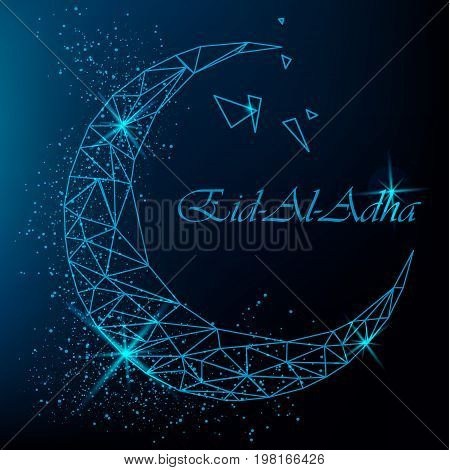Eid Al Adha traditional Muslim holiday. Beautiful greeting card with polygonal moon with glitter on blue background. Stock vector