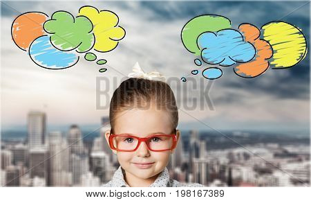 Red girl little glasses elementary age human emotions preadolescent child