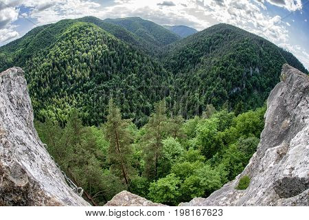 Beautiful viewpoint Tomasovsky vyhlad in Slovak Paradise national park.