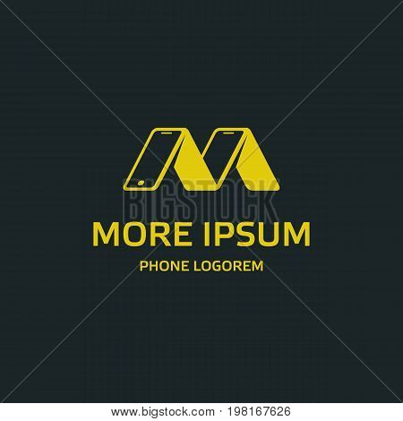 Yellow phone logo template. Several phones rely on each other look like the letter M. Isolated vector icon with text for mobile on a black background.