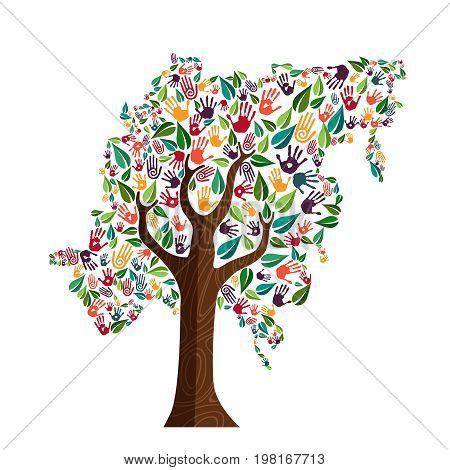 Asia Hand Print Tree Symbol For World Help