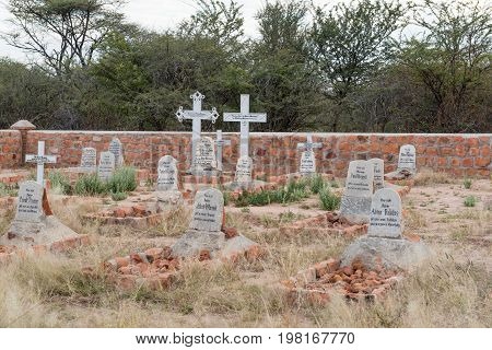 WATERBERG PLATEAU NATIONAL PARK NAMIBIA - JUNE 19 2017: The German military graveyard from the battle in 1904 between German and Herero armies