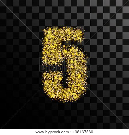 Number five of gold glitters and shine. Vector illustration on a transparent dark background.