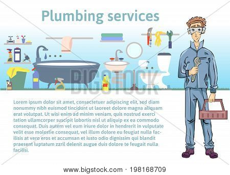 Plumbing services. Plumber man holding a wrench. Vector illustration with copy space, template for advertising flyer brochure or website.