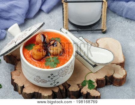Japanese Tomato Soup With Scallops. Dinner For Gourmets. Selective Focus