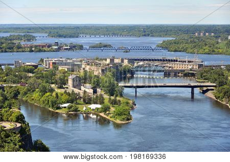 Aerial view of Victoria Island and Chaudière Island on Ottawa River viewed from Ottawa Parliament Peace Tower, Ottawa, Ontario, Canada.