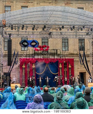 Gatchina St. Petersburg Russia - June 18 2017: Scene from the operetta Mr. X. The performance took place at the Gatchina Palace - the residence of Emperor Paul I. During the performance it rains.