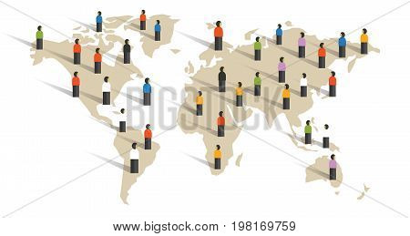 people spread across world map diversity around the world population community vector